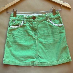 Mini Boden Green Corduroy Girls Skirt